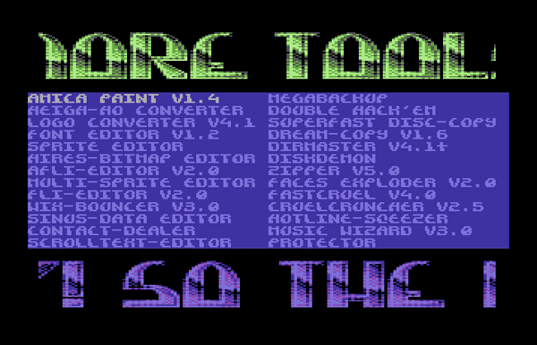 Screenshot of C64 tool collection 'More Tools', which use the multicolor Compyx font in the logo and the scroll text