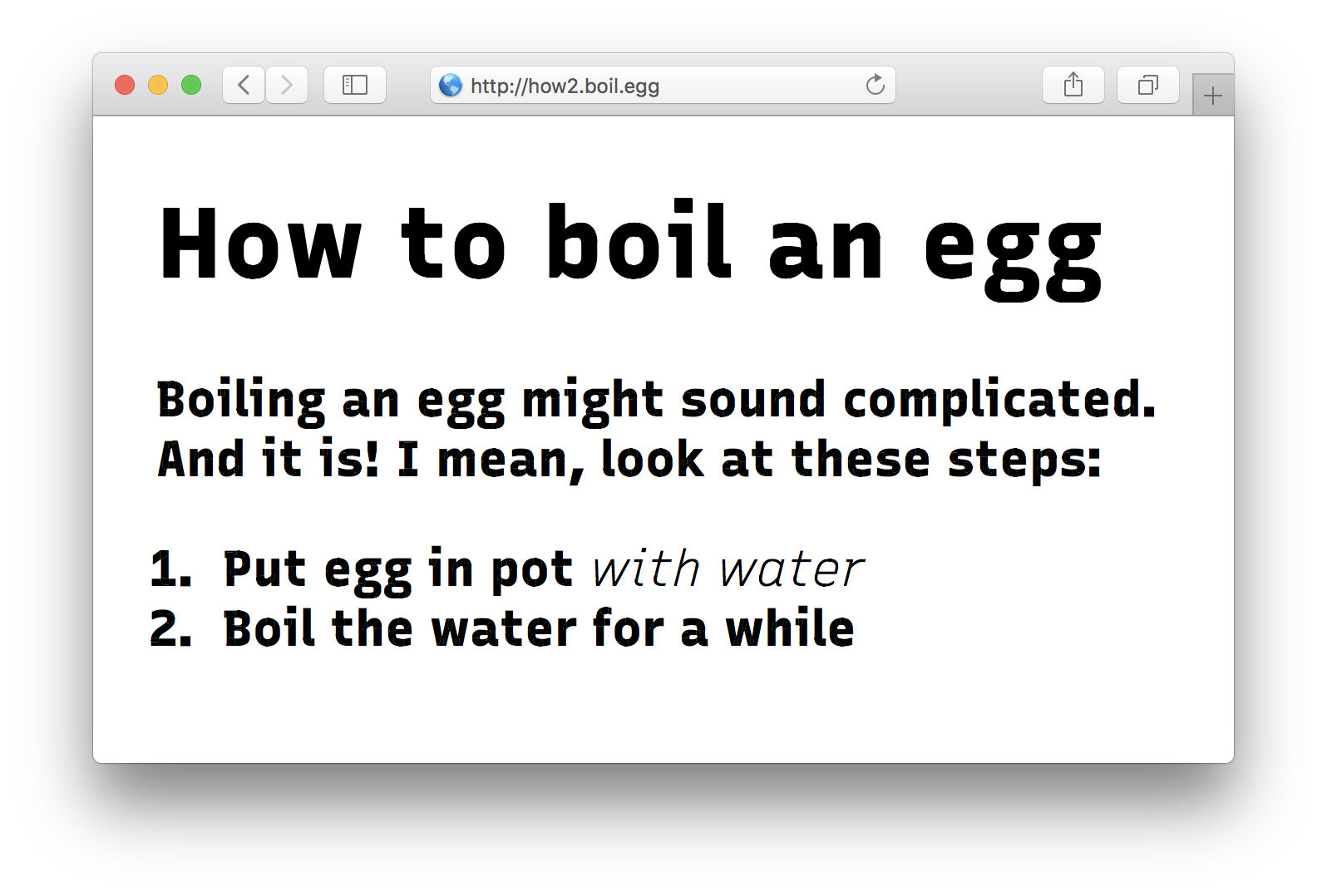 Screenshot of fake egg boiling site in wrong font
