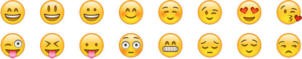 An example of multicolor emoji smileys.